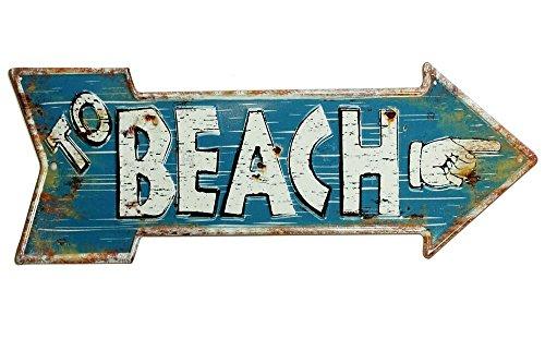 zeitzone Nostalgie Blechschild to Beach Pfeil Wegweiser Vintage Geprägt 50 x 19 cm -