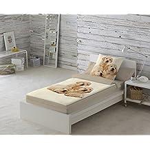 COTTON ART. Saco nórdico CON relleno GOLDEN PUPPIES para cama 90 x 190/200 + 1 funda de almohada. Saco unido a la bajera con cremallera. Con relleno nórdico.
