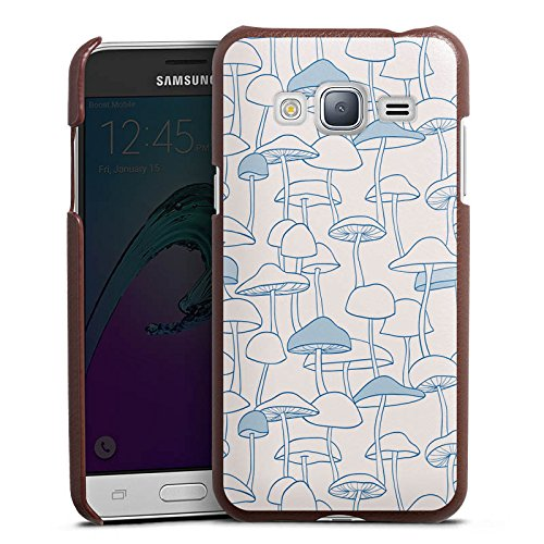 DeinDesign Samsung Galaxy J3 Duos 2016 Lederhülle braun Leder Case Leder Handyhülle Pilze Poison Gift - Pilz Braun Leder