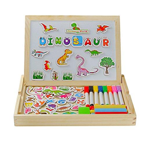 Rompecabezas Tablero Magnético de Dibujo con Carta y Dinosaurio Juguete de Madera Juguetes Educativos con Diferentes Colores Pluma para Niños