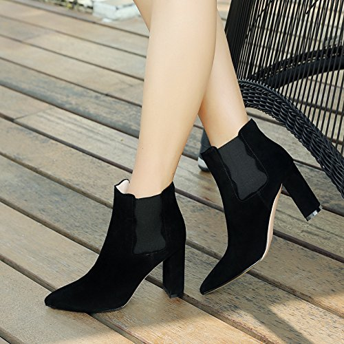 Pointed Heel High Heels Pure Color Simplicity Tightness Mouth Female Boots orange