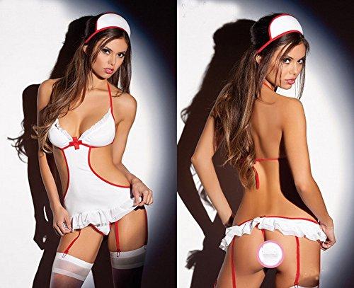 CWJ Europa und die Vereinigten Staaten Gro?en Code Sexy Unterw?sche Krankenschwester Uniform Versuchung Gesetzt Club Pole Tanz Kostüme,Weiß,Alle Code (Tanz Kostüm Europa)