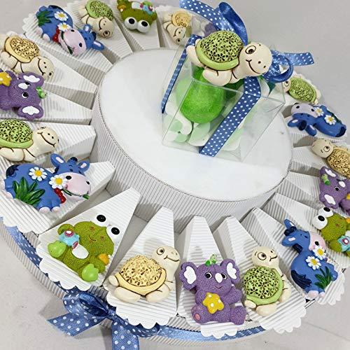 Sindy Bomboiniere bomboniere nascita battesimo ANIMALETTI colorati calamita con portafoto - torta con fette + magneti + 1 portafoto + confetti rosa ... (torta 20 fette 1 PIANO a)