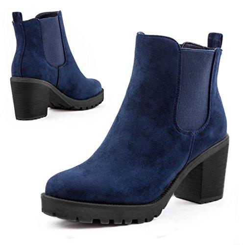 Stylische Damen Ankle Chelsea Boots Stiefeletten mit Blockabsatz in hochwertiger Lederoptik Blau