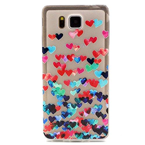 Moonmini caso per Samsung Galaxy Alpha G850F, Custodie e cover per Galaxy Alpha G850F, Samsung Galaxy Alpha G850 radura TPU telefono molle caso della parte posteriore della calotta di protezione Shell (Cuori colorati)