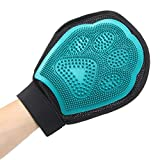 Pet Grooming Massage Glove Brush, Gentle Deshedding Brush Glove Efficient Pet Hair Remover Mitts,Massage Tool for Pets -Long & Short Hair Dogs,Cats, Bunnies, Horses Glove Brush (Blue)