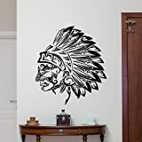 guijiumai Wand Vinyl Aufkleber Tribal Indian Chief Vinyl Aufkleber Indian Head Wall Decor Wandkunst Raum Wandaufkleber rot 81 x 100 cm