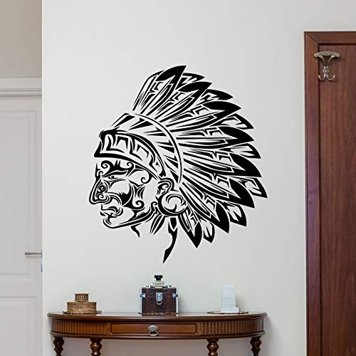 guijiumai Wand Vinyl Aufkleber Tribal Indian Chief Vinyl Aufkleber Indian Head Wall Decor Wandkunst Raum Wandaufkleber weiß 58 x 72 cm Chief Wand