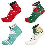 LAEMILIA Damen 4er-Pack Weihnachtssocken Socken mit Weihnachtsmotiv Christmas Stockings Verschiedene Designs (4er-Pack)