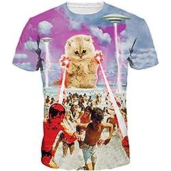 De Moda Impresión Del Gato Potente Láser Camiseta De Manga Corta De Verano Camisas De Los Pares