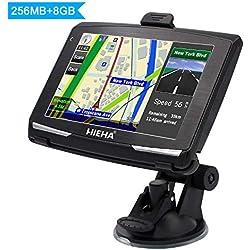 """5"""" GPS Automatique de Voiture Moto 8GB, Hieha Appareil de Navigation Écran HD Tactile, Intégrer Le Système des Instructions Vocales, Multi-Languages"""