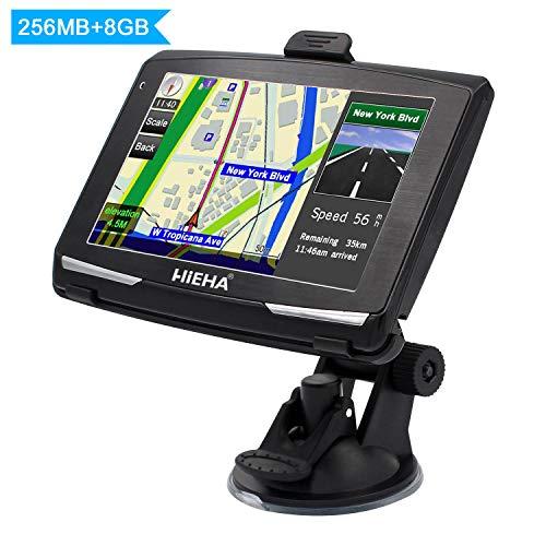 5' GPS Automatique de Voiture Moto 8GB, Hieha Appareil de Navigation Écran HD Tactile, Intégrer Le Système des Instructions Vocales, Multi-Languages