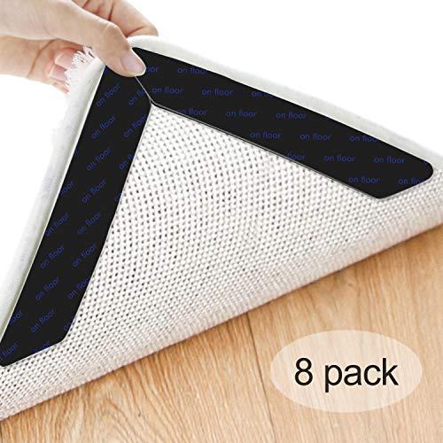 Heystop tappeto gripper, adesivo antiscivolo sottotappeto riutilizzabile per tappeti moquette fissa angoli tappeto anti-arriccia forte presa rug grippers pad,8 pezzi nero