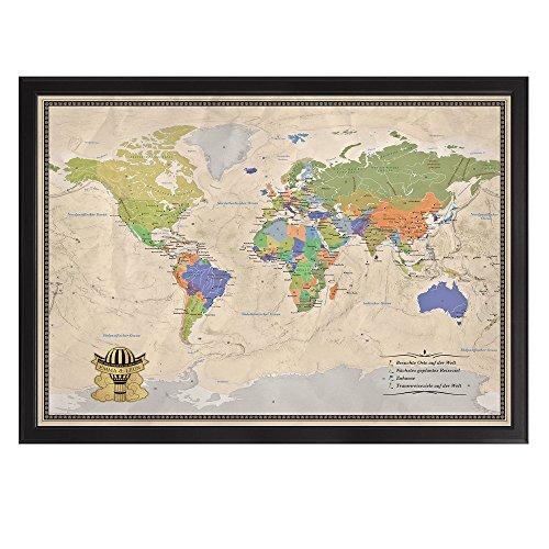 Casa Vivente Edle Reise-Weltkarte - Pinnwand XXL - Personalisiert mit [Namen] - im Echtholz-Rahmen mit Stecknadeln und Pins – Inkl. Matt-Goldener Plakette in Form Eines Heißluftballons mit Wolken