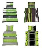 Basatex Microfaser Bettwäsche die Grünen in 8 Designs und 2 Größen, 4 tlg. Rainer grün 155x220