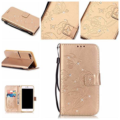 iPhone 7 Plus Hülle, iPhone 7 Plus Neo Hülle Case, iPhone 7 Plus Leder Brieftasche Hülle Case,Cozy Hut iPhone 7 Plus Leder Hülle iPhone 7 Plus Ledertasche Brieftasche Schutz Handytasche mit Standfunkt golden Schmetterling
