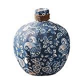 Vasen AMINSHAP Keramikvase Blau und weiß Porzellan Blume Arbeitsplatte Retro Blumenanordnung Chinesischen Stil Wind Dekoration (größe : Style One)