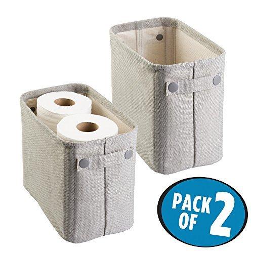 mDesign 2er-Set Zeitungskorb fürs Bad – stilvolle Toilettenpapier Aufbewahrung aus Baumwolle – praktischer Aufbewahrungskorb für Magazine, Handtücher etc. – hellgrau