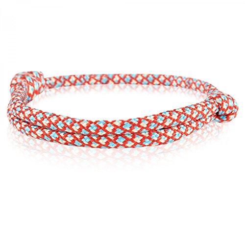 Skipper Surfer-Armband mit Segelknoten - Maritimes Surf Style Surferband aus Nylon - Unisex Strandschmuck für Damen und Herren - Rot/Blau/Weiß 6737