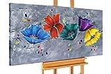 KunstLoft® Acryl Gemälde 'Couleur im Graphit' 140x70cm | original handgemalte Leinwand Bilder XXL | Blumen Blüten Grau Bunt | Wandbild Acrylbild moderne Kunst einteilig mit Rahmen