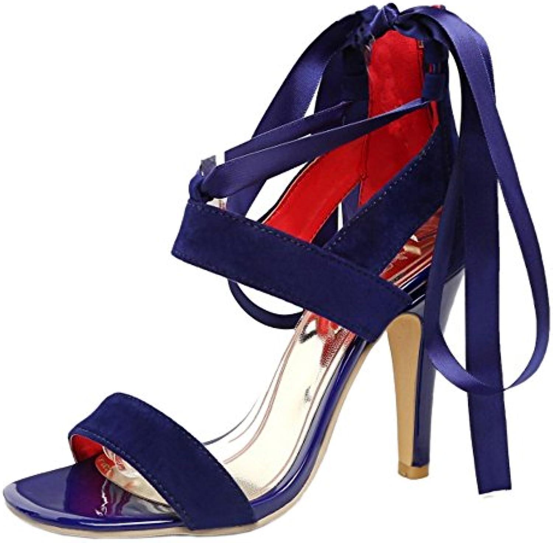 RAZAMAZA Mujer Moda Tacon Alto Sandalias Punta Abierta Cordones Vestido Zapatos con Cremallera -