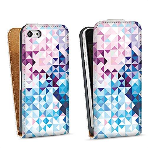 Apple iPhone 5s Housse Étui Protection Coque Pastel Motif Motif Sac Downflip blanc