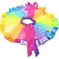SHABEI Niñas arco iris tutú falda Chicas Faldas ballet ropa de baile volantes Tiered tul Pettiskirt Clubwear (M)