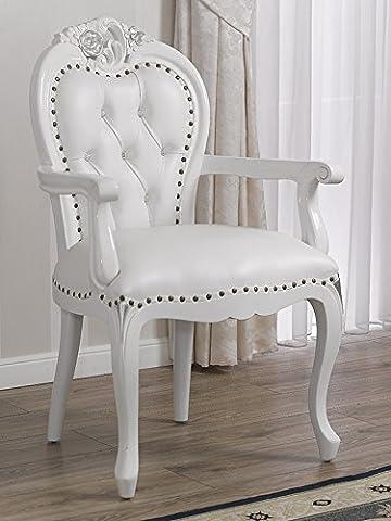 Fauteuil chaise avec accoudoirs style baroque moderne blanc laqué Détails