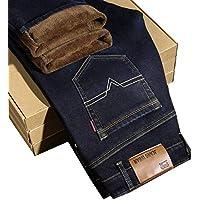 JBLDY Estiramiento de Invierno Más Terciopelo Engrosamiento Jeans Casual Casual Recto Cálido,Negro,31