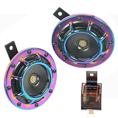 Auto Horn Eletric 12V 135dB super laut High Sound und Low Tone Metall Twin Horn Kit mit Halterung für Cars LKWs SUV Vans Motorräder Off Road Boote