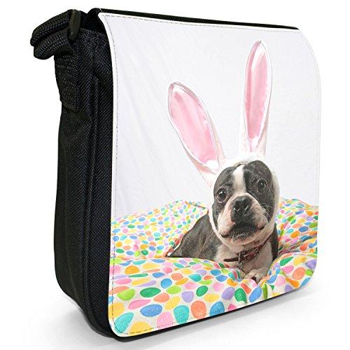 Boston Terrier Boston Bull Bosso piccolo nero Tela Borsa a tracolla, taglia S Boston Bull Wears Rabbit Ears