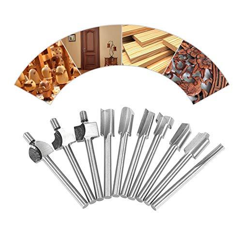 Yeshai3369 Set mit 10 Bohrungen 3,2 mm Schaft, HSS Hartmetall-Spitzen Holzbearbeitungs-Kit