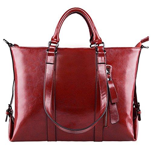 S-ZONE Frauen 3-Weg-Tragen Echtes Leder Tasche Handtasche Schultertasche - Leder Schultertasche Handtasche Tasche
