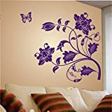 #6: Decals Design 'Vine Flower' Wall Sticker (PVC Vinyl, 50 cm x 70 cm, Purple)