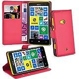 Nokia Lumia 625 Hülle in ROT von Cadorabo - Handyhülle mit Kartenfach und Standfunktion Case Cover Schutzhülle Etui Tasche Book Klapp Style in KARMIN ROT