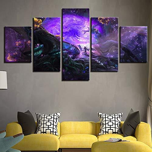 xzfddn Modulare Leinwand Bilder Home Decor HD Prints Spiel Poster 5 Stücke Lesen Das Buch In Der Magischen Wald Gemälde Wandkunst (Den Magischen In Wald Halloween)