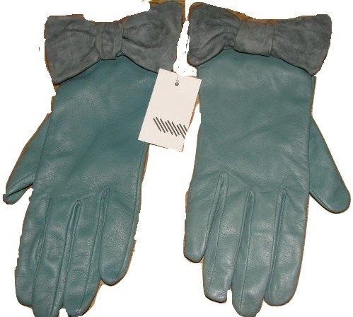 john-lewis-womens-leather-gloves-with-suede-bow-choice-of-three-colours-raspberryblack-or-vintage-bl