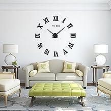 FAS1 Moderno DIY Reloj De Pared Grande Big Reloj Adhesivo 3d Pegatinas Números Romanos Reloj De Pared Home Office Decoración Extraíble (Batería No Incluida) Negro