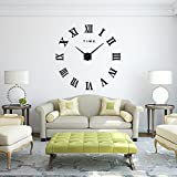 FAS1 Modern DIY Large Wall Clock Big Watch Decal 3D Stickers Roman Numerals Wall Clock Home Office Removable Decoration for Living Room - Black (Battery NOT Included)