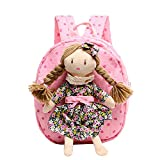 Cartoon Canvas Backpack Schoolbag Travel Outdoor School Bag for 1-3 Years Old Baby Girl (Pink)