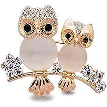 Bobury Broche búho Forma Rhinestone Cubierto Cristal Belleza Broche Pin Bufandas Clip Mantón Para Mujeres Señoras