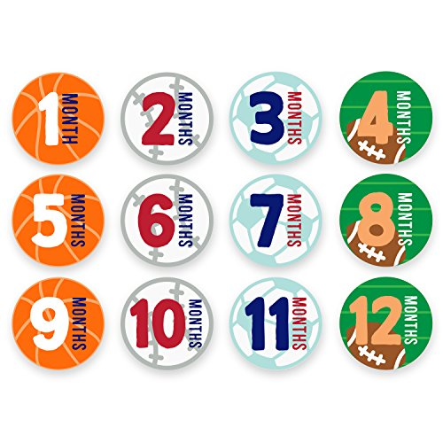 Tiny Ideas Monthly Milestone Belly Stickers, Sports