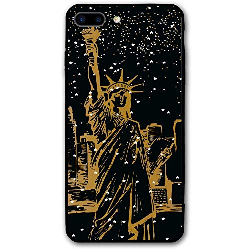 iPhone 8 Plus Case, New York Statue of Liberty Stars Cell Phone Case Slim-Fit Shock Proof Anti-Finger Print Phone Case for Women Men Girls Boys