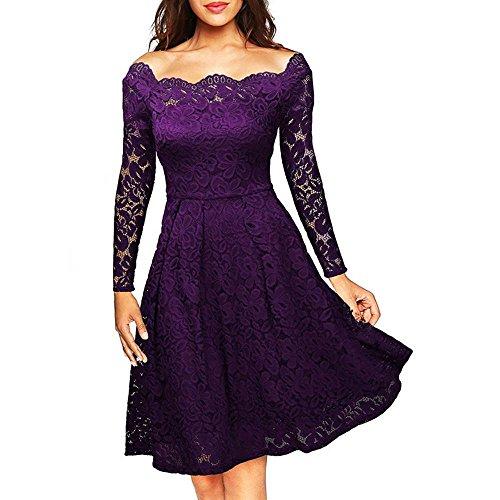 Dame Kleid Rock Elegant Feine Spitze Das Wort TräGerlosen Big Swing Middle in Den Rock Spandex, Purple, m - Spitzen Rock Trägerlosen Brautkleid