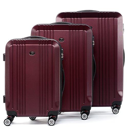 FERGÉ® Dreier Kofferset CANNES Trolley-Koffer Hartschale leicht neu | Set 3-teilig Hartschalenkoffer mit 4 Zwillingsrollen (360°) | Koffer Hartschale Brushed-Burgund | PREMIUM-QUALITÄT