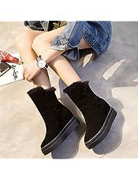Botas de Invierno para Mujer en la Pendiente Del Tubo con Botas de Algodón Engrosamiento de Botas de Nieve,Negro,34