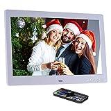 Andoer 10 Zoll Digitaler Bilderrahmen Hohe Auflösung 1024x600 Elektronisches Album MP3 MP4 Bild Player Elektronische Uhr/Wecker / Kalender mit Fernbedienung Weihnachtsgeschenk