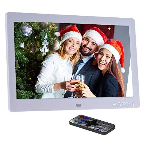 Marco Digital Andoer 10 Pulgadas LED Marco Digital de Foto Alta Resolución 1024 * 600(Reproductor MP3 y MP4) / Video/E-Book,Despertador,Calendario,con Control Remot,Regalo para Navidad (10 Pulgadas)