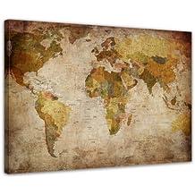 Bilderdepot24 Kunstdruck   Weltkarte Retro   Bild Auf Leinwand   80 X 60 Cm    Leinwandbilder