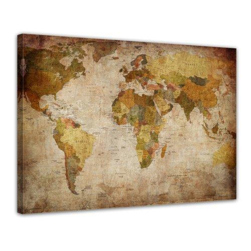 Bilderdepot24 Kunstdruck - Weltkarte retro - Bild auf Leinwand - 80x60 cm 1 teilig - Leinwandbilder...
